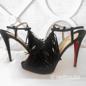 Fringe open toe Christian Louboutin suede sandals